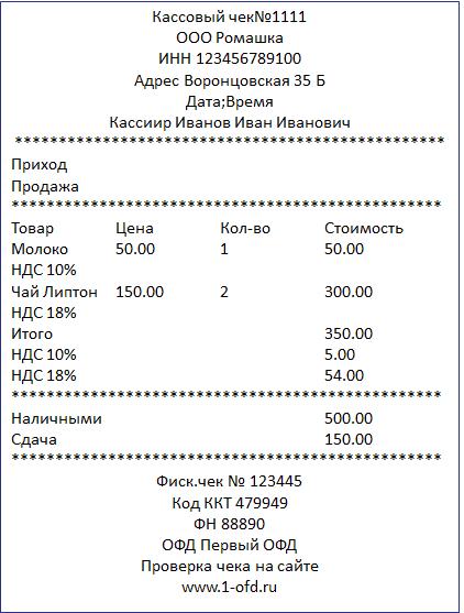 Рис. 3. Образец нового кассового чека. Источник: Сайт «Первый бит»