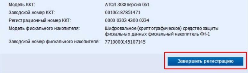 Рисунок 10. Завершение регистрации. Источник: nalog.ru