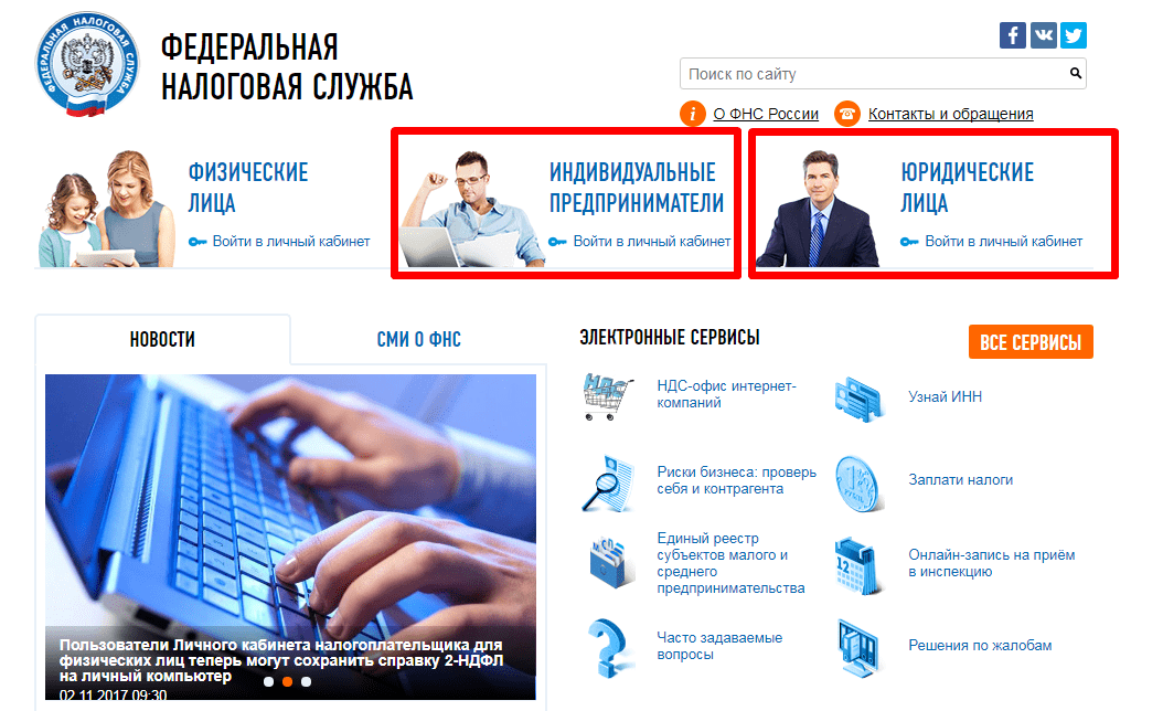 Рисунок 2. Сайт ФНС. Источник: nalog.ru