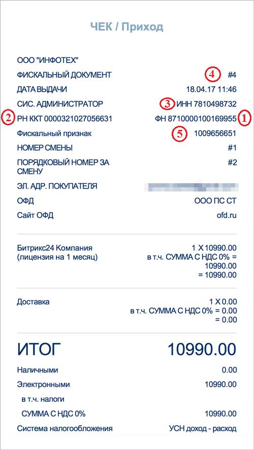 Рисунок 14. Кассовый документ для поиска на сайте ОФД Петер-сервис. Источник: Ofd.ru